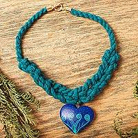 Wood pendant necklace, 'Winter Sweetness' - Heart-Shaped Wood Braided Pendant Necklace from Mexico