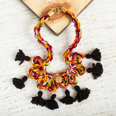 Gold accented wool braided pendant necklace, 'Faithful Colors' - Gold Accented Braided Pendant Necklace with Tassels
