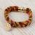 Gold accented wool braided wristband bracelet, 'Glorious Saint Benedict' - Saint Benedict Gold Plated Wool Braided Wristband Bracelet (image 2b) thumbail