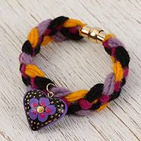 Wood braided wristband bracelet, 'Goodnight Heart' - Heart Charm Wood Braided Wristband Bracelet from Mexico