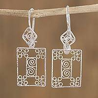 Sterling silver filigree dangle earrings, 'Dream Becomes Reality' - Rectangular Sterling Silver Filigree Dangle Earrings