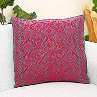 Cotton cushion cover, 'Ruby Geometry' - Cotton Cushion Cover in Ruby and Emerald from Mexico