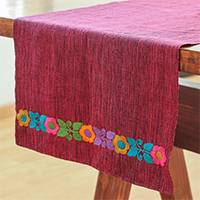 Cotton table runner, 'Floral Heather' - Floral Cotton Table Runner in Crimson from Mexico