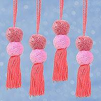 Cotton ornaments, 'Feminine Pompoms' (set of 4) - Cotton Pompom Ornaments in Mauve and Carnation (Set of 4)