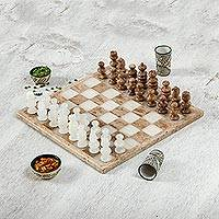 Onyx and marble chess set, 'Brown and Ivory Challenge' (13.5 inch) - Onyx and Marble Chess Set in Brown and Ivory (13.5 in.)