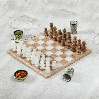 Onyx and marble chess set, 'Nature's Challenge' (13.5 inch) - Onyx and Marble Chess Set in Brown and Beige (13.5 in.)