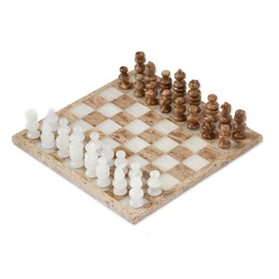 Onyx and Marble Chess Set in Brown and Ivory (13.5 in.)