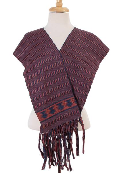 Cotton scarf, 'Maya Texture' - Handwoven Cotton Wrap Scarf in Russet and Teal from Mexico
