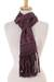 Cotton scarf, 'Maya Texture' - Handwoven Cotton Wrap Scarf in Russet and Teal from Mexico (image 2a) thumbail