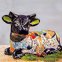 Ceramic sculpture, 'Vibrant Cow' - Hand-Painted Ceramic Cow Sculpture from Mexico