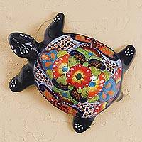 Ceramic sculpture, 'Cute Turtle' - Hand-Painted Ceramic Turtle Sculpture from Mexico