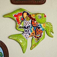Ceramic wall sculpture, 'Green Angelfish' - Hand-Painted Ceramic Fish Wall Sculpture from Mexico