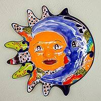 Ceramic wall sculpture, 'Delightful Eclipse' - Hand-Painted Sun and Moon Ceramic Wall Sculpture from Mexico