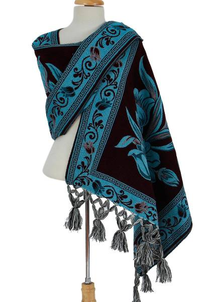 Cotton blend rebozo, 'Bountiful Bouquet in Teal' - Teal and Purple Bold Floral Motif Cotton Blend Rebozo