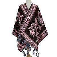 Cotton blend rebozo, 'Bountiful Bouquet in Rose' - Rose Pink and Brown Bold Floral Motif Cotton Blend Rebozo