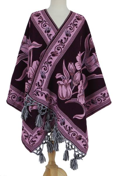 Cotton blend rebozo, 'Bountiful Bouquet in Pink' - Pink and Purple Bold Floral Motif Cotton Blend Rebozo