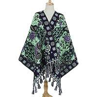 Cotton blend rebozo, 'Peacock Promenade' - Green and Purple Peacock Floral Motif Cotton Blend Rebozo