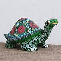 Wood alebrije figurine, 'Festive Turtle in Green' - Handcrafted Green with Colorful Flowers Wood Alebrije Turtle