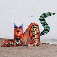 Wood alebrije figurine, 'Lounging Cat in Orange' - Handcrafted Orange Wood Alebrije Lounging Cat Figurine