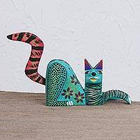 Wood alebrije figurine, 'Relaxed Cat in Turquoise' - Handcrafted Turquoise Wood Alebrije Relaxed Cat Figurine