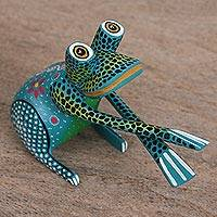 Wood alebrije figurine, 'Hand Jive Frog in Teal' - Handcrafted Teal Wood Alebrije Playful Frog Figurine