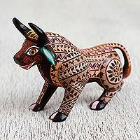 Wood alebrije figurine, 'Earthen Bull' - Wood Alebrije Bull Figurine in Brown from Mexico