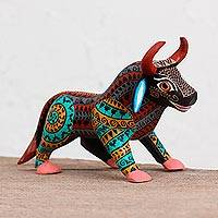 Wood alebrije figurine, 'Intricate Bull' - Colorful Wood Alebrije Bull Figurine from Mexico