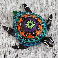 Wood alebrije figurine, 'Sea Turtle Mountains' - Multicolored Wood Alebrije Sea Turtle Figurine from Mexico