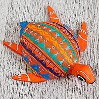 Wood alebrije figurine, 'Orange Sea Turtle' - Wood Alebrije Sea Turtle Figurine in Orange from Mexico