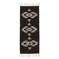 Wool area rug, 'Brown Geometry' (1x3.5) - Geometric Wool Area Rug in Espresso and Tan (1x3.5)