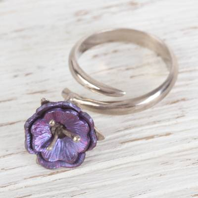 Titanium and sterling silver wrap ring, 'Stunning Violet' - Sterling Silver Wrap Ring with Purple Titanium Flower Charm