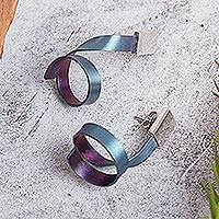 Titanium plated sterling silver drop earrings, 'Modern Ribbons' - Modern Titanium Plated Sterling Silver Drop Earrings