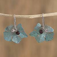 Agate dangle earrings, 'Vine' - Leaf Motif Agate Dangle Earrings from Mexico