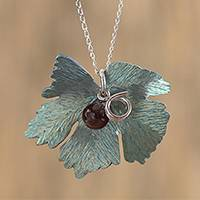 Agate pendant necklace, 'Vine' - Leaf Motif Agate Pendant Necklace from Mexico