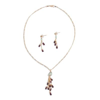 Garnet and Prehnite Pendant Necklace and Earrings Set