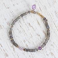 Labradorite beaded pendant bracelet, 'Mountainside at Dawn' - Labradorite and Purple Quartz Beaded Pendant Bracelet