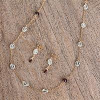 Aquamarine and garnet beaded jewelry set,