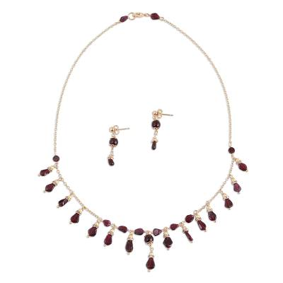 Gold Plated Garnet Waterfall Necklace and Earrings Set