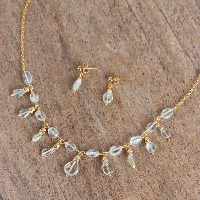 Gold plated aquamarine and quartz jewelry set, 'Sparkling Ice' - Aquamarine and Quartz Pendant Necklace and Earrings Set