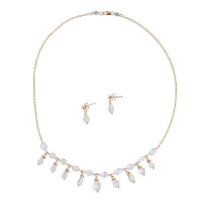 Aquamarine and Quartz Pendant Necklace and Earrings Set