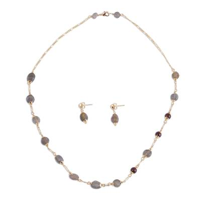 Labradorite and Garnet Pendant Necklace and Earrings Set