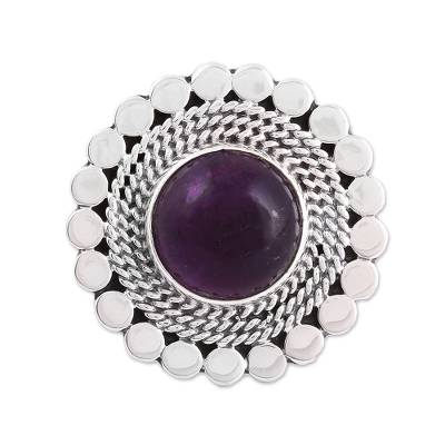 Amethyst and Sterling Silver Circle Motif Cocktail Ring