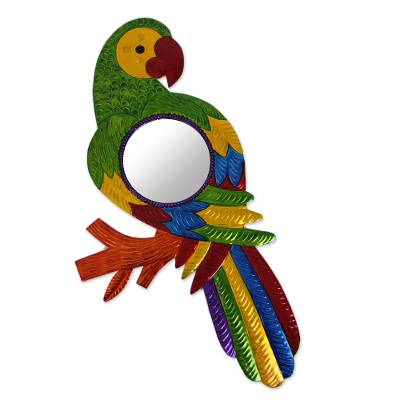 Colorful Parrot Tin Wall Mirror from Mexico
