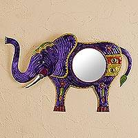Tin wall mirror, 'Reflective Elephant in Purple' - Handmade Tin Elephant Wall Mirror in Purple from Mexico
