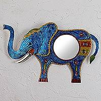 Tin wall mirror, 'Reflective Elephant in Blue' - Handmade Tin Elephant Wall Mirror in Blue from Mexico