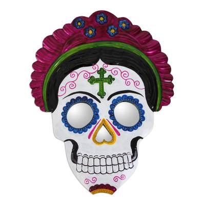 Frida Day of the Dead Tin Wall Mirror from Mexico (8.5 in.)