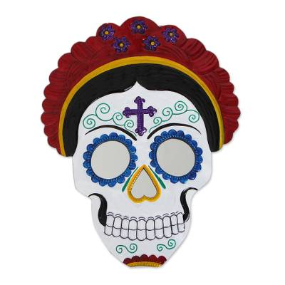 Frida Day of the Dead Tin Wall Mirror in Red (12 in.)