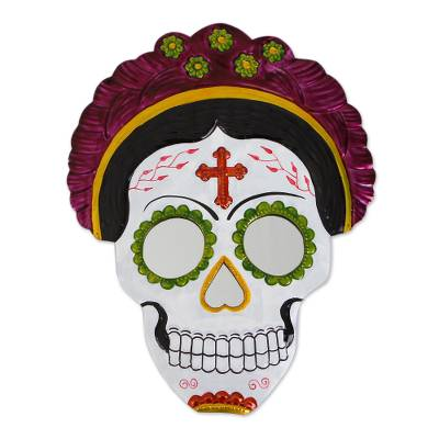 Frida Day of the Dead Tin Wall Mirror in Fuchsia (12 in.)