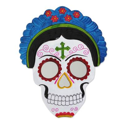Frida Day of the Dead Tin Wall Mirror in Blue (12 in.)