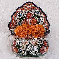 Ceramic wall planter, 'Bouquet Display' - Hand-Painted Talavera-Style Ceramic Wall Planter from Mexico